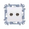 Gniazdo antenowe Kontakt-Simon Simon 10 CASF2.01/11 typu F podwójne białe