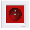 Gniazdo pojedyncze Schneider Asfora EPH2800421 z uziemieniem z ramką czerwono-białe