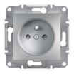 Gniazdo pojedyncze Schneider Asfora EPH2800261 z uziemieniem z przesłonami aluminium