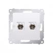 Gniazdo antenowe Kontakt-Simon 54 DASF2.01/11 podwójne SAT typu F białe
