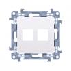 Pokrywa gniazd teleinformatycznych Kontakt-Simon 10 CKP2.01/11 podwójna płaska standard Keystone biała