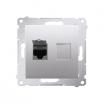 Gniazdo komputerowe Simon 54 D61.01/43 pojedyncze z przesłoną przeciwkurzową srebrny mat Kontakt-Simon