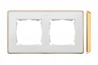 Ramka podwójna Kontakt-Simon 82 8201620-245 Detail Select Metal podstawa złota ramka biała