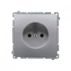 Basic gniazdo wtyczkowe Kontakt-Simon podtynkowe pojedyncze 16A bez uziemienia inox metalizowany BMG1.01/21