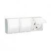 Gniazdo hermetyczne Kontakt-Simon Aquarius AQGSZ1-3Z/11 natynkowe potrójne z uziemieniem schuko IP54 z przesłonami klapka biała białe
