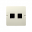 Gniazdo komputerowe Kontakt-Simon Basic BMF52.02/12 podwójne 2xRJ45 kategoria 5e beżowe