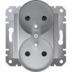 Gniazdo podwójne Schneider Asfora EPH9810261 z uziemieniem aluminium