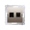 Gniazdo HDMI i komputerowe Kontakt-Simon Simon 54 DGHRJ45.01/44 HDMI + RJ45 kategoria 6 złoty mat
