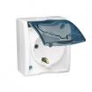 Gniazdo hermetyczne Kontakt-Simon Aquarius AQGSZ1/11A natynkowe pojedyncze z uziemieniem schuko IP54 klapka transparentna białe
