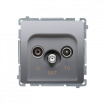 Gniazdo antenowe Kontakt-Simon Basic BMZAR-SAT1.3/1.01/43 R-TV-SAT końcowe srebrny mat