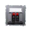 Gniazdo głośnikowe Kontakt-Simon Basic BMGL3.01/21 podwójne z polem opisowym stalowe inox