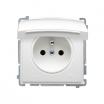 Gniazdo hermetyczne Kontakt-Simon Basic BMGZ1B.01/11 z uziemieniem IP44 klapka biała białe
