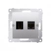 Gniazdo HDMI i komputerowe Kontakt-Simon Simon 54 DGHRJ45.01/43 HDMI + RJ45 kategoria 6 srebrny mat