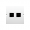 Gniazdo komputerowe Kontakt-Simon Basic BMF52.02/11 podwójne 2xRJ45 kategoria 5e białe