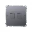 Pokrywa gniazd teleinformatycznych Kontakt-Simon Basic BMPT/43 na Keystone płaska podwójna srebrny mat