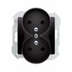 Pokrywa gniazda podwójnego Kontakt Simon 82 82068PDZ-38 z uziemieniem z przesłonami do ramek Detail grafitowa