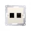 Gniazdo HDMI i komputerowe Kontakt-Simon Simon 54 DGHRJ45.01/41 HDMI + RJ45 kategoria 6 kremowe