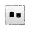Gniazdo komputerowe Kontakt-Simon Basic BM62E.01/11 podwójne 2xRJ45 kategoria 6 ekranowane z osłoną białe