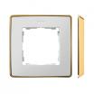 Ramka pojedyncza Kontakt-Simon 82 8201610-245 Detail Select Metal podstawa złota ramka biała