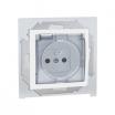 Gniazdo hermetyczne Kontakt-Simon 15 1591950B-030A z uziemieniem IP44 bez uszczelki z przesłonami z klapką transparentną białe