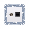 Gniazdo antenowe i komputerowe Kontakt-Simon Simon 10 CASFRJ455.01/11 typu F + RJ45 kategoria 5e białe