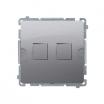 Pokrywa gniazda teleinformatycznego Kontakt-Simon Classic BMPT/21 płaska podwójna do modułów Keystone inox