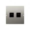 Gniazdo komputerowe Kontakt-Simon Basic BMF52.02/29 podwójne 2xRJ45 kategoria 5e satynowe