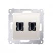 Gniazdo HDMI Kontakt-Simon Simon 54 DGHDMI2.01/41 podwójne kremowe