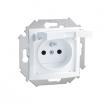 Gniazdo hermetyczne Kontakt-Simon 15 1591950-030 z uziemieniem IP44 z przesłonami z klapką białą białe