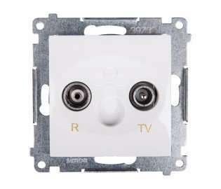 Gniazdo antenowe Kontakt-Simon Simon 54 DAP10.01/11 R-TV przelotowe tłumienie 10dB białe