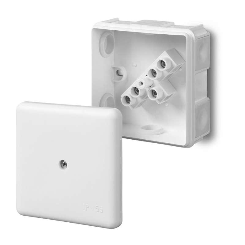 Puszka odgałężna Elektro-plast z wkładem 5-torowa dla Cu do 2.5mm2/6-wylotowy IP55 biała 87x87x39 0226-01