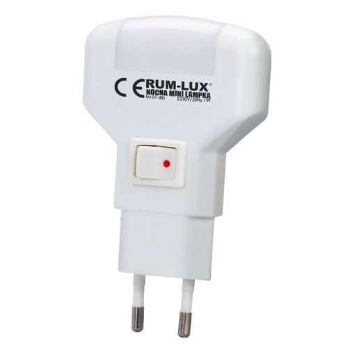 Lampka nocna mini do gniazdka pozioma LED biała LN-01-LED Rum-Lux