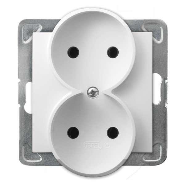 Gniazdo podwójne Ospel Impresja GP-2YR/m/00 wtyczkowe białe